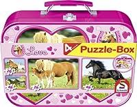 Pferde, Puzzle-Box 2 x 26, 2 x 48 Teile im Metallkoffer von Schmidt Spiele