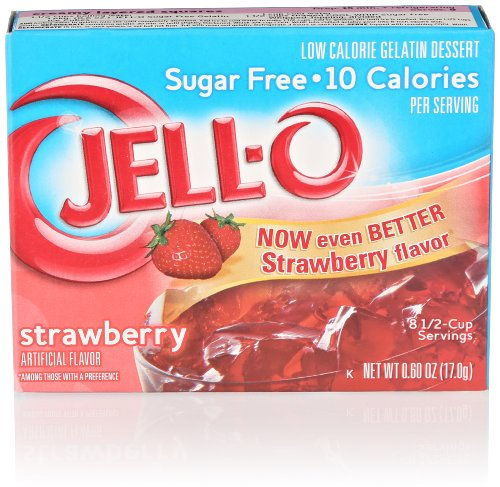Jell-O Sugar-Free Low Calorie Gelatin Dessert, Strawberry, 0.60 Oz