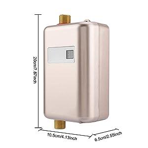 Fdit Electric Hot Water Heater 110V/220V Instant Household Indoor Kitchen Washing Kitchen Bathroom Shower(Golden) (Color: Golden)