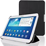 EasyAcc® Ultra Slim Samsung Galaxy Tab 3 10.1 Schutzhülle PU Leder Tasche Hülle für Samsung Galaxy Tab 3 10.1 P5200 Smart Cover case mit Auto Sleep Wake up / Standfunktion (Schwarz, Kunstleder,Ultra dünn) (Schwarz - Ultra Slim)