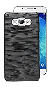 ECellStreet Exclusive Designer Liner Textured Soft Back Case Cover Back Cover For Samsung Galaxy A7 A700F - Black