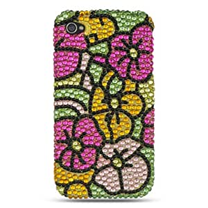 Dream Wireless HD Full Diamond Case for iPhone 4/4S - Retail Packaging - Green with Hot Pink Hawaii Flower