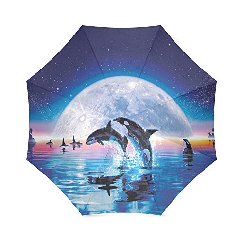 Killer Whales Under Moon Starry Night Design Foldable Outdoor Travel Sunshade Windproof Rain Umbrella (Starry Night Sun Shade compare prices)