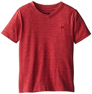 Hurley Little Boys' Icon Premium Vee Tee, Radiant Red Heather, 3T