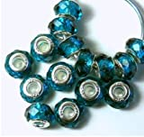 14 Beads Faceted Crystal Glass Large 5.5mm Hole Silver Core Teal Blue Compatible with Pandora, Biagi, Troll, Chamilia, Caprice, Dione Chains