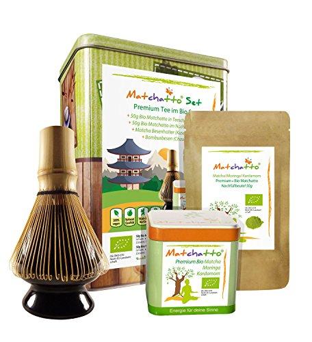 BIO-GESCHENK-SET-100g-Premium-Matchatto-Organic-Matcha-Moringa-Tee-Kardamom-Pulver-Bambusbesenhalter-Kusenaoshi-Bambusbesen-Chasen-fr-Teezeremonie-geeignet