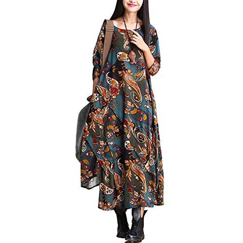 Serenely 2015 Women's 100%cotton 3/4 Sleeve Paisley Print Dresses Vintage Dress