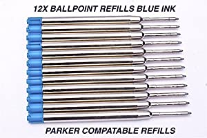 S&S quality pen refill ballpoint , 12 pieces medium BLUE , fits parker too
