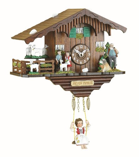 Kuckulino Black Forest Clock Swiss House with turning goats, quartz movement and cuckoo chime, incl. batterie