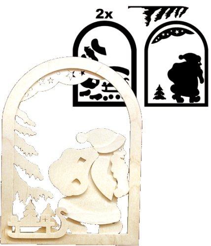 Holz bastelset 3 d fensterbild weihnachtsmann mit - Schlitten basteln pappe ...