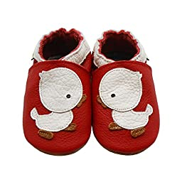 Sayoyo Baby Duck Soft Sole Leather Infant Toddler Prewalker Shoes (12-18 months, Red)