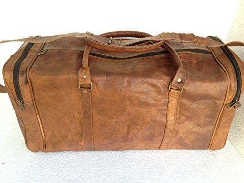 "True Grit Leather- ""Rugged"" da uomo, stile Vintage, colore: Marrone, Borsa trolley (24 "")"