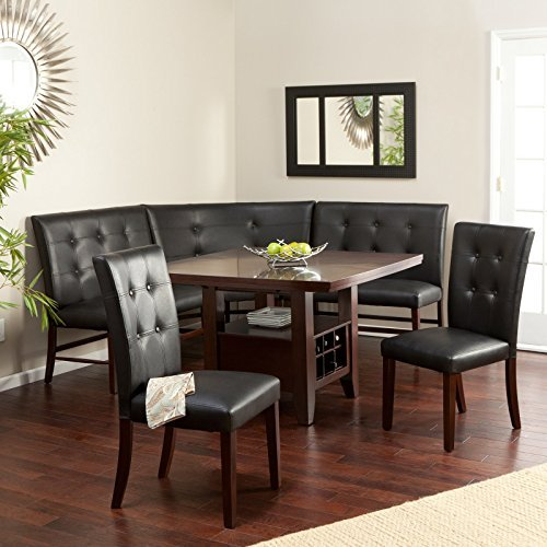Espresso 6-Piece Breakfast Nook Set Wood and Faux Leather Chairs Benches Wine Bottle Holders by Layton