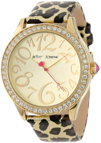 Betsey Johnson Women's BJ00131-10 Analog Metallic Leopard Printed Strap Watch
