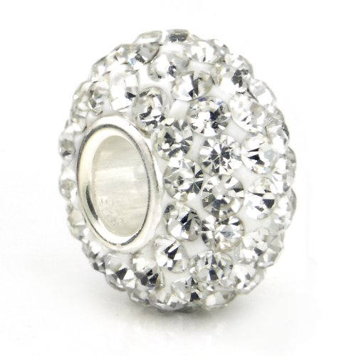 Swarovski White Crystal Ball Bead Sterling Silver
