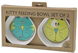 ORE Pet Comic Kitty Bowl Set – Blue & Green