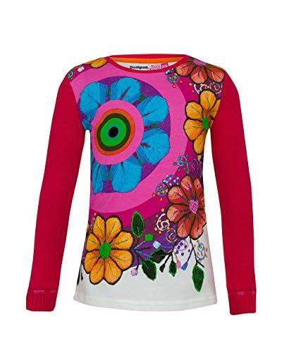 Desigual Camiseta Manga Larga Fucsia / Multicolor