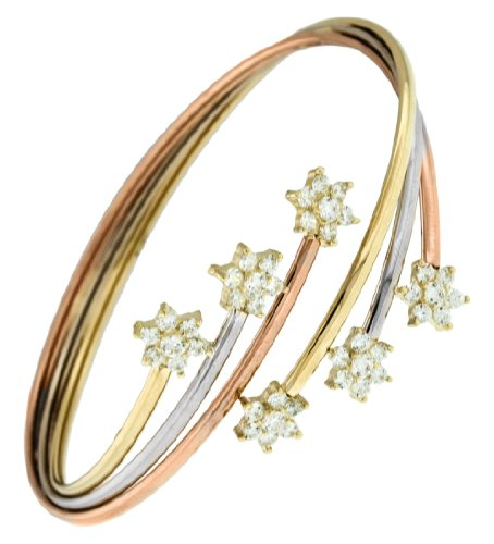 9ct Three-Colour Cubic Zirconia Flower Bangle