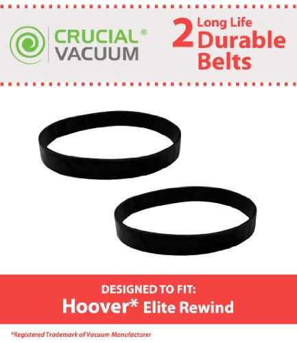 2 Hoover Elite Rewind, Legacy Agitator Vacuum Cleaner Belts, Pack Of 2, Replaces Part#40201190, 38528040, Designed And Engineered By Crucial Vacuum