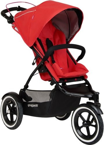 Phil & Teds Inline Cherry Compact Navigator Child Stroller W/ Auto Brake