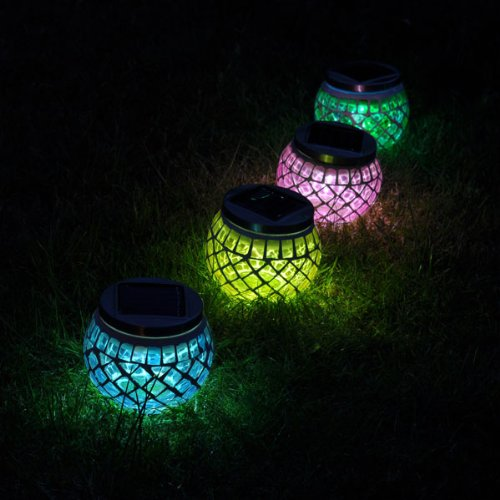 SuperLED Solar Garden Mosaic Jar Lights, 4-Pack, Red , Green, Blue & Yellow