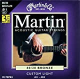Martin 80/20 Bronze Acoustic Guitar Strings - Custom Light (Pack of 3)