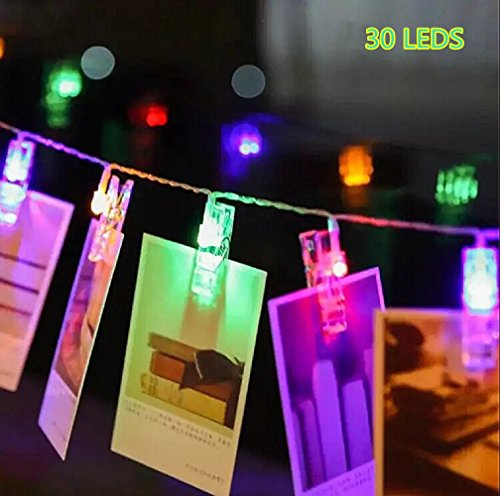 30 LED Photo Clips String Lights Indoor / Outdoor, Christmas Lights, USB Powered, 12 Ft, 30 LED Clips Lights,Multicolor - for Hanging Photos Paintings Pictures Card and Memos (Usb Clip Light compare prices)