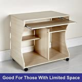 Space Saver PC Desk Computer Table on Wheels Workstation Home Office in Beech (Beech)