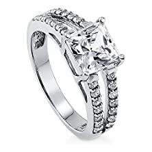 buy Berricle Sterling Silver Princess Cubic Zirconia Cz Solitaire Engagement Wedding Split Shank Ring