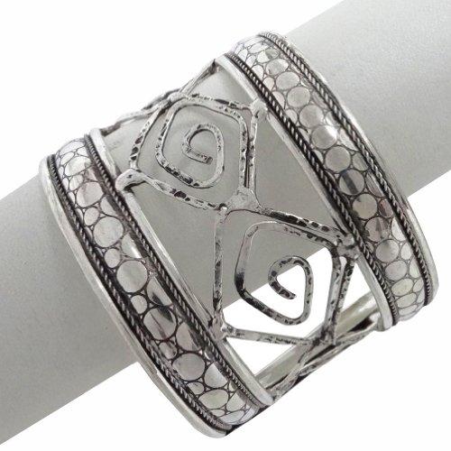 Silver Tone Adjustable Metal Design Brass Cuff Bangle Bracelet Fashion Party Wear Jewellery India Gift