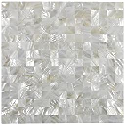 White Square Groutless Pearl Shell Tile 1 sq.ft