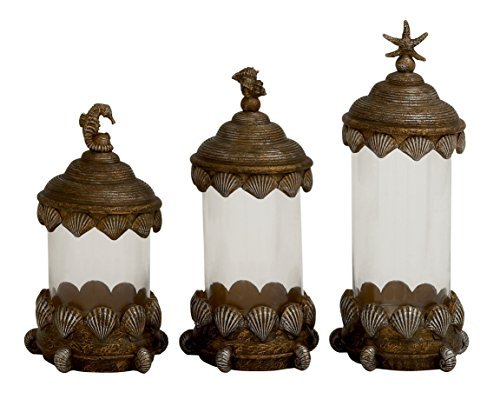Glass Polystone Peacock Canister Set Of 3 In 17 14 12h 54878 By Gwg Outlet