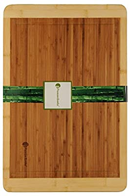 Bamboo Cutting Board with Beautiful White Edges. Measures 18x12 - Large, Thick, and Strong Chopping Board with Deep Drip Groove By Premium Bamboo®