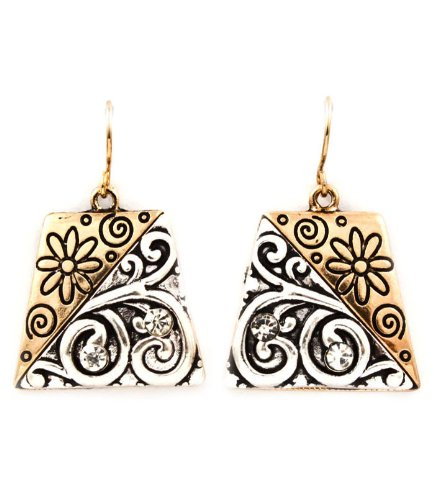 Etched Two-tone Drop Earrings