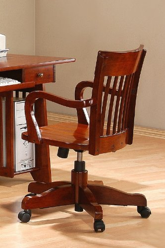 Mission Style Oak Finish Wooden Adjustable Home Office Desk Chair