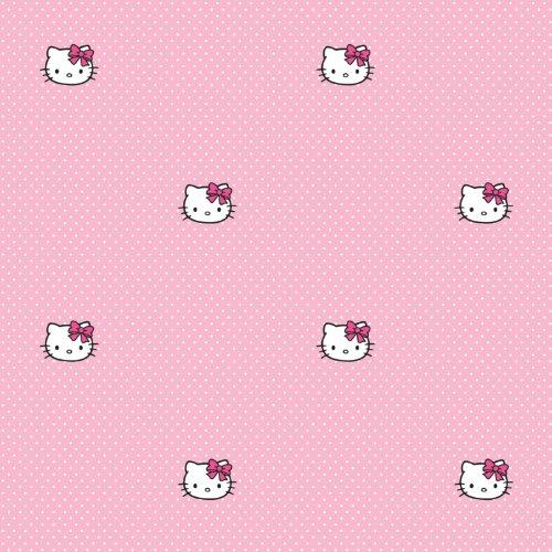 kidshomeiii-polka-dots-collection-papier-peint-pour-enfant-motif-hello-kitty-rose