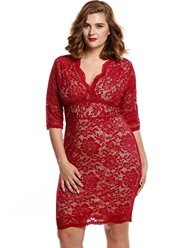 Meaneor Women's Plus Size V-neck 3/4 Sleeve Floral Lace Dress(Red, XXX-Large)