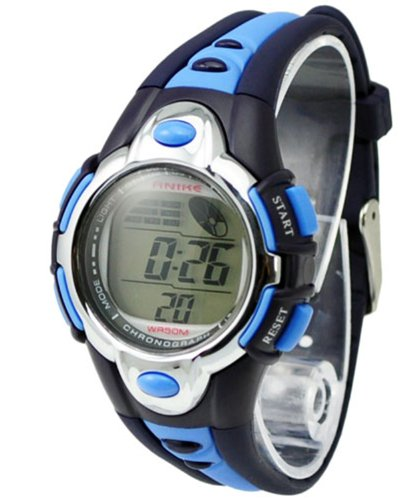 Style Trend Kids Watches Cute Flash Lights 50M Waterproof Chronograph Digital Sports Watch - Blue Color front-791971