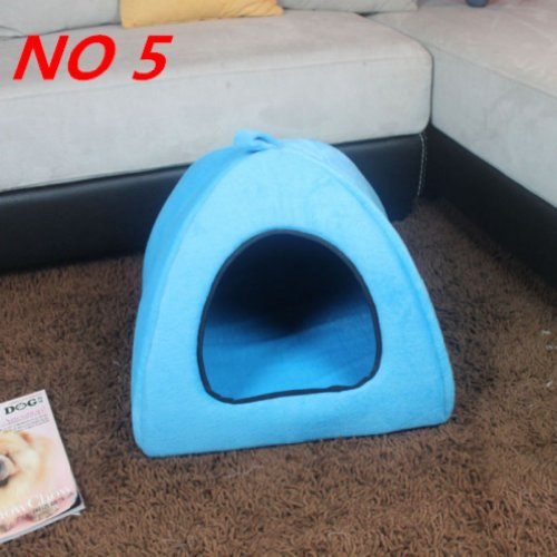 Small Dogs Teddy Vip Kennel Pet Nest Cat Litter Cotton Nest Dog Tent Doghouse (No.5-Light Blue,L) front-1079073