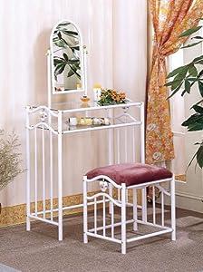 Coaster Glossy White Metal Makeup Vanity Table Set GE 3S