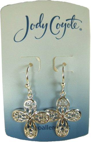 Jody Coyote Silver Filigree Cross Earrings SC-0609-01