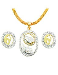 "AAKSHI ""Dual Circle Eternal Promise Of Love"" CZ Diamond Studded Plated Gold 3-piece Jewellery Set"