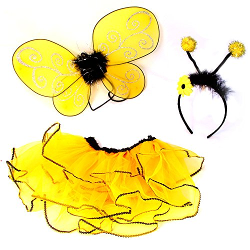 Girls Bumble Honey Bee Kids Child Toddler Tutu Dress Halloween Costume Wing Head
