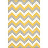 Safavieh Dhurries Collection DHU640A Handmade Gold and Grey Wool Area Rug, 4 feet by 6 feet (4' x 6')