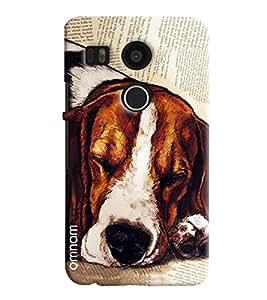 Omnam Dog Sleeping Printed Designer Back Cover Case For LG Nexus 5 X
