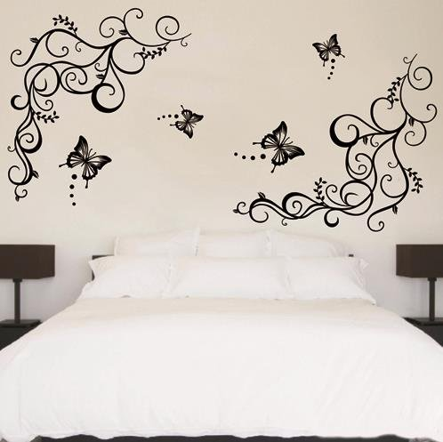 Large Size Wall Sticker Decal Butterfly Flowering Tree Vine Branch Removable Children Mural Art Home Decoration Bedroom Bathroom front-854586