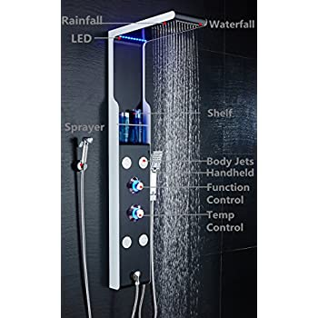 ELLO&ALLO Stainless Steel Shower Panel Tower System LED Rainfall Waterfall Shower Head 5-Function Faucet Rain Massage System with Body Jets Black and White