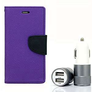 Aart Fancy Diary Card Wallet Flip Case Back Cover For Mircomax A120 - (Purple) + Dual ports USB car Charger With Ultra Power Technolgy by Aart Store.