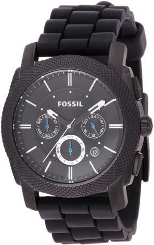 Amazing!!! Fossil Men's FS4487 Black Silicone Bracelet Black Analog Dial Chronograph Watch