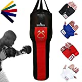 TurnerMAX Vinyl Upper Cut Angled Body bag Kick Boxing Punch bags Filled Red Black 4 ftby TurnerMAX